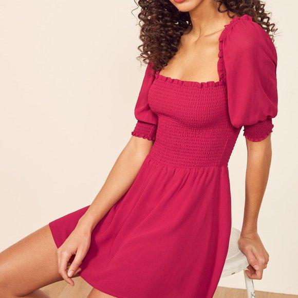 Reformation Elle Dress in Rhubarb, NWT, Size 0